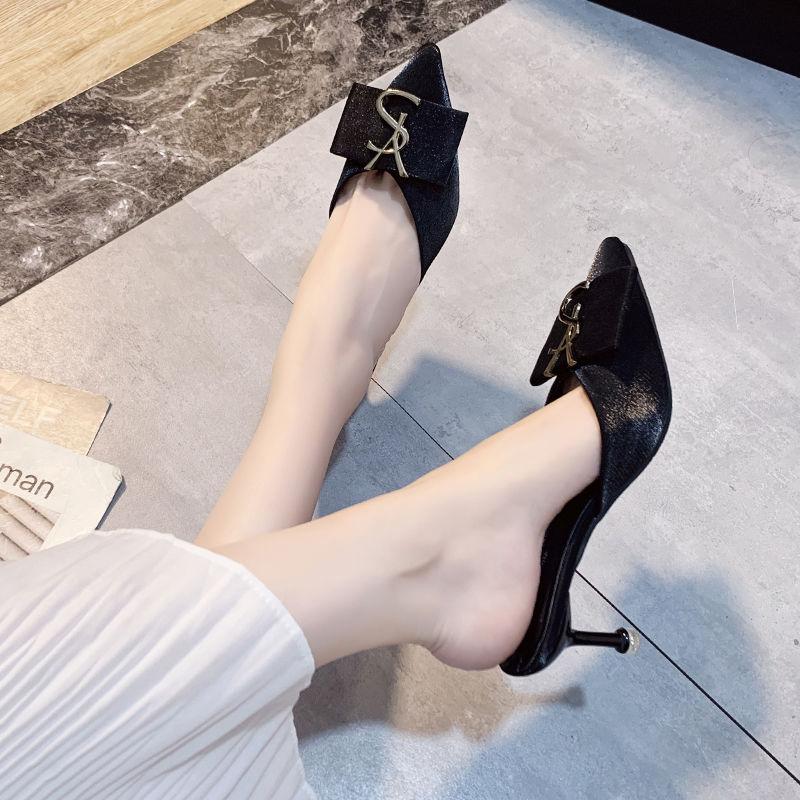 Primavera Tacco Alto Pantofole Scarpe A Punta Tacco Alto Scarpe Donna Sandali Moda Sandali 2020 Scarpe Estive per le Donne Tacco Sottile