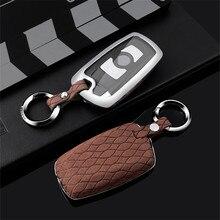 Étui en cuir suédé pour clé télécommande de voiture, couverture complète en TPU, alliage de Zinc, pour BMW E46, E60, e87, E90, X1, X3, X4, X5, X6, F30, F34, F10, F07, F20, G30, F15