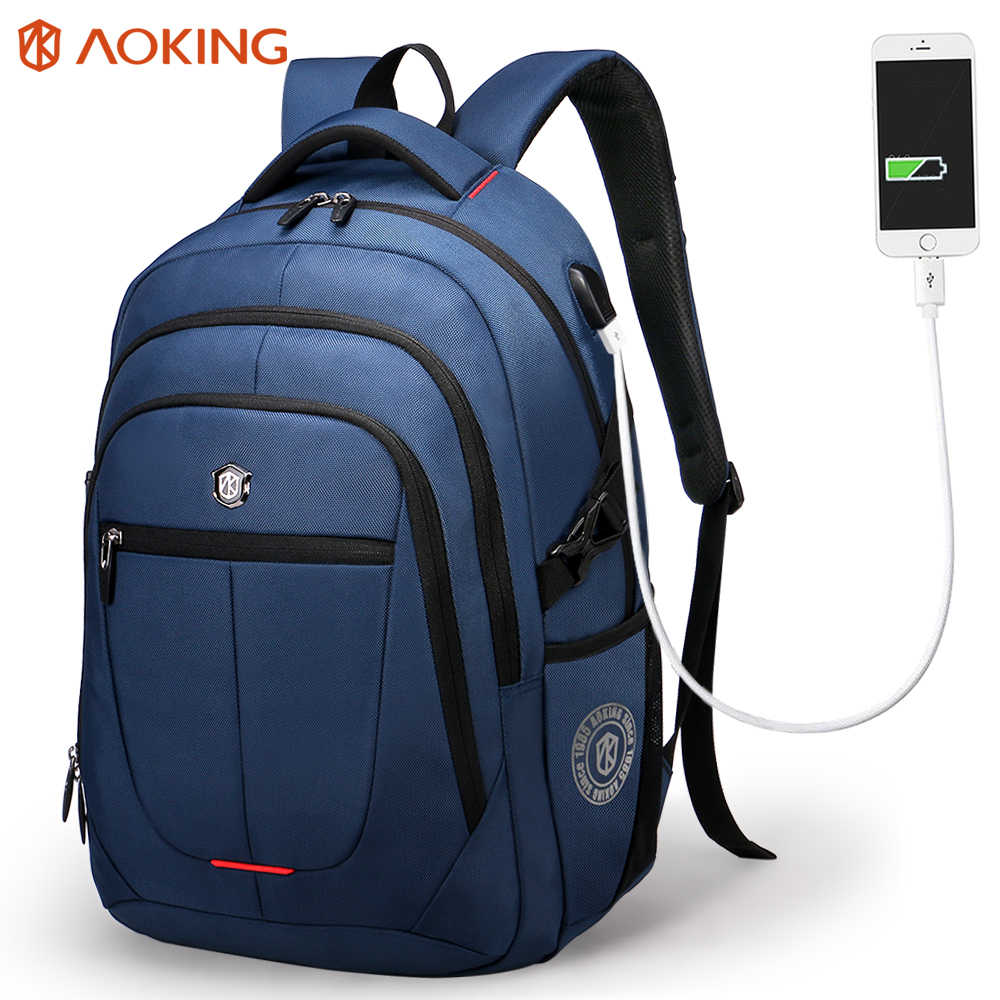 Aoking Travel backpack with External USB Charge port and reflective strip for women Polyester Waterproof Laptop Backpack Student