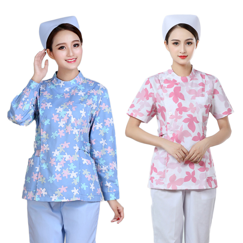 Veterinary Beauty Salon Scrub Clothing Set For Women Floral Operating Nurse Tops+pants Medical Uniform Hospital Surgical Tops