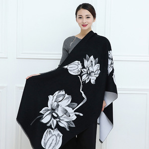 Image 2 - 2019 New Autumn Winter Warm Scarf For Women/Lady Soft Cashmere Pashmina Shawls Print Flower Two Side Cashmere Female Wraps Capes
