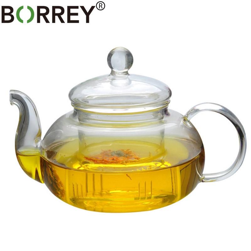 BORREY Heat-resistant Glass Teapot Double Wall Glass Teacup Clear Tea Pot Infuser Qolong Tea Kettle Tea Different Flavors