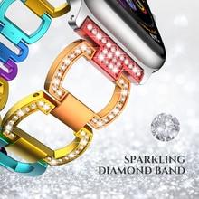 Luxury Aluminium Alloy Strap for Apple Watchband Rhinestone Diamond Bands 38/42mm Series 3 2 1 iWatch 40mm 44mm 4 5