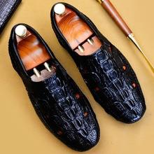 купить 2019 New 100% Genuine Leather Loafers Shoes Men Hollow Handmade Slip-On Mans Crocodile Shoes Casual Round Toe Driving Shoes по цене 5050.27 рублей