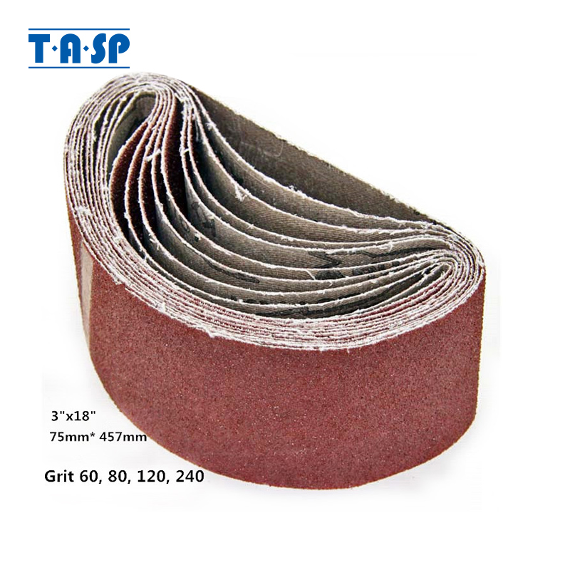 "Lot of 5 Aluminum Oxide 1//2/"" x 18/"" File Sanding Belts Grit-60"