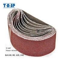 """TASP lijadora de cinta, 5 uds., 3 """"x 18"""", 75x457mm, banda de lijado, óxido de aluminio, herramientas abrasivas para carpintería MSB75457"""