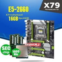 X79 טורבו האם LGA2011 ATX שילובי E5 2660 C2 4pcs x 4GB 16GB 1600Mhz PC3 12800R PCI E NVME M.2 SSD USB3.0 SATA3
