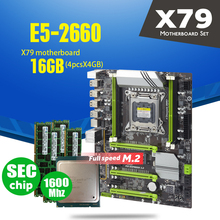 X79 Turbo carte mère LGA2011 ATX combos E5 2660 C2 4 pièces x 4GB 16GB 1600Mhz PC3 12800R PCI E NVME M.2 SSD USB3.0 SATA3