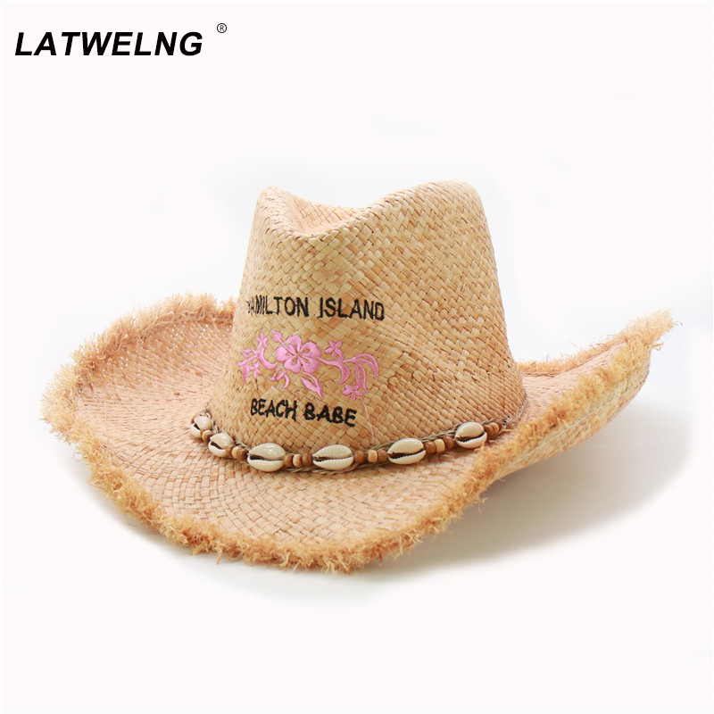2020 New Trendy Shell Belt Women Panama Hat Cowgirl Raffia Beach UV Hats Men Cool Jazz Summer Visor Cap Western Cowboy Sun Hat