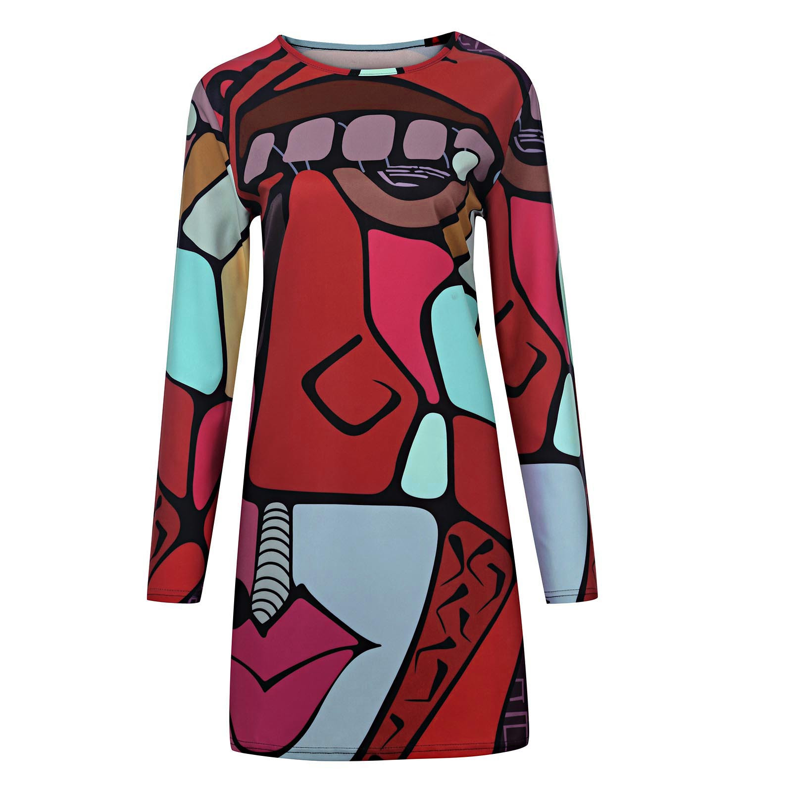 vestido de mujer Women Fashion Print Casual Long Sleeve O-neck Loose Knee-Length Dresses femme robe платье 2021