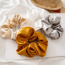 Women Faux Silk Solid Scrunchies Lady Simple Elastic Headbands Satin Hairband Girls Scrunchy hair tie Hair Rope Hair Accessories