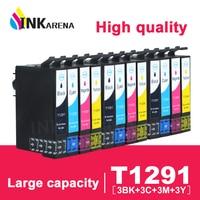 INKARENA 3set T1291 T1294 4 Color Ink Cartridges Compatible for Epson SX445W SX525WD SX535WD SX620FW BX925FW Office B42WD BX305F|Ink Cartridges| |  -