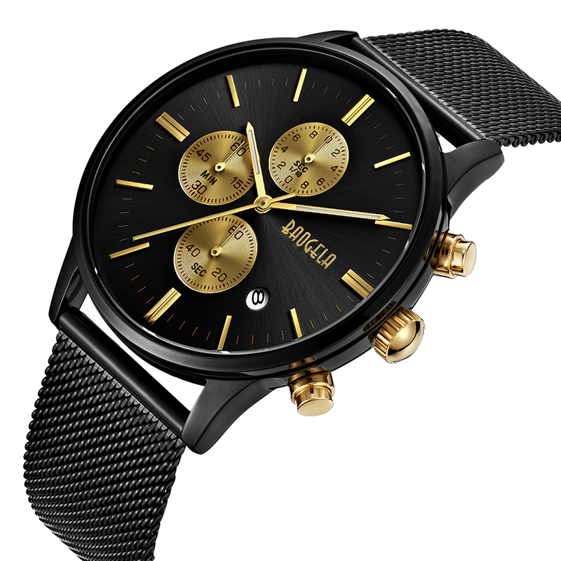 Image 4 - BAOGELA Chronograph New Men Quartz Watch Stainless Steel Mesh Band Gold Watches Slim Men Watches Male Relogio Sports Wristwatch-in Quartz Watches from Watches