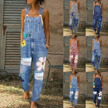 2020 New Summer Women Long Jumpsuits Fashion Flowers Printed Jeans Short Romper Casual Floral Pocket Playsuit Denim Overalls(China)