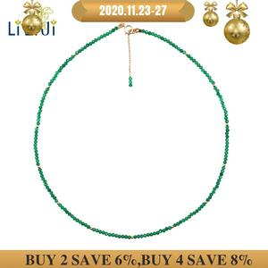 Image 1 - LiiJi 독특한 진짜 녹색 오닉스 2mm 작은 구슬 925 스털링 실버 옐로우 골드 컬러 초커 빛나는 목걸이