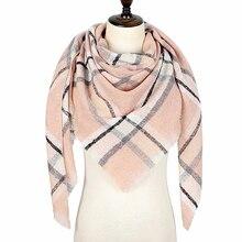 Шарф женский зимний, зимний плед шарф, треугольные теплые кашемировые шарфы, шарфы женские, Дизайнер Пашмина шали, Женская бандана, шарфы 140*140*210CM
