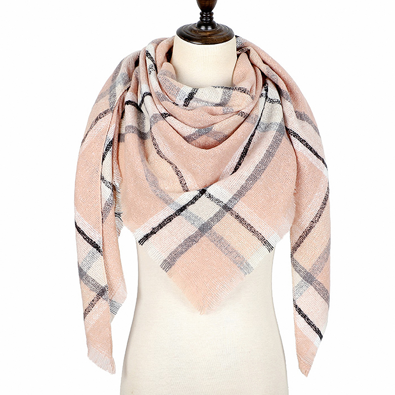 Women Scarf Winter Plaid Scarf Triangle Warm Cashmere Scarves Female Shawls 2019 New Designer Pashmina Lady Wraps Foulard