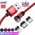 УГИ 3 в 1 360 ° 2.4A Быстрая зарядка Магнитный кабель для IOS кабель Type-C USB C зарядный кабель Micro USB кабель Мобильный телефон для Xiaomi HTC