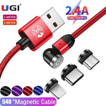 UGI 3 в 1 360 ° 2.4A Магнитный кабель для быстрой зарядки для IOS Type C кабель USB C кабель Micro USB кабель Мобильный телефон Аксессуары 715