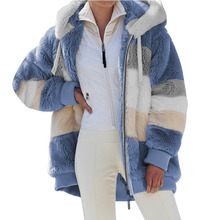 Winter Women Parka Coat Casual Female Plush Patchwork Zipper Pocket Hooded Jackets Plus Size Parkas Outerwear Top Women's Jacket