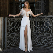 Elegant Beach Chiffon Wedding Dresses with Tassel Sheer Neckline Lace Appliques Cap Sleeves Open Back High Slit Bridal Gowns
