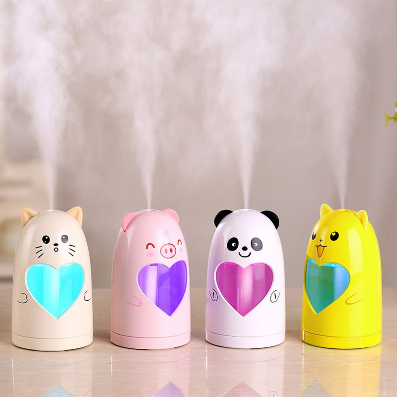 Cute Humidifier  Cute Mini Desktop USB Humidifier Car Home LED Night Ultrasonic Air Humidifier Aroma Essential Oil Diffuser