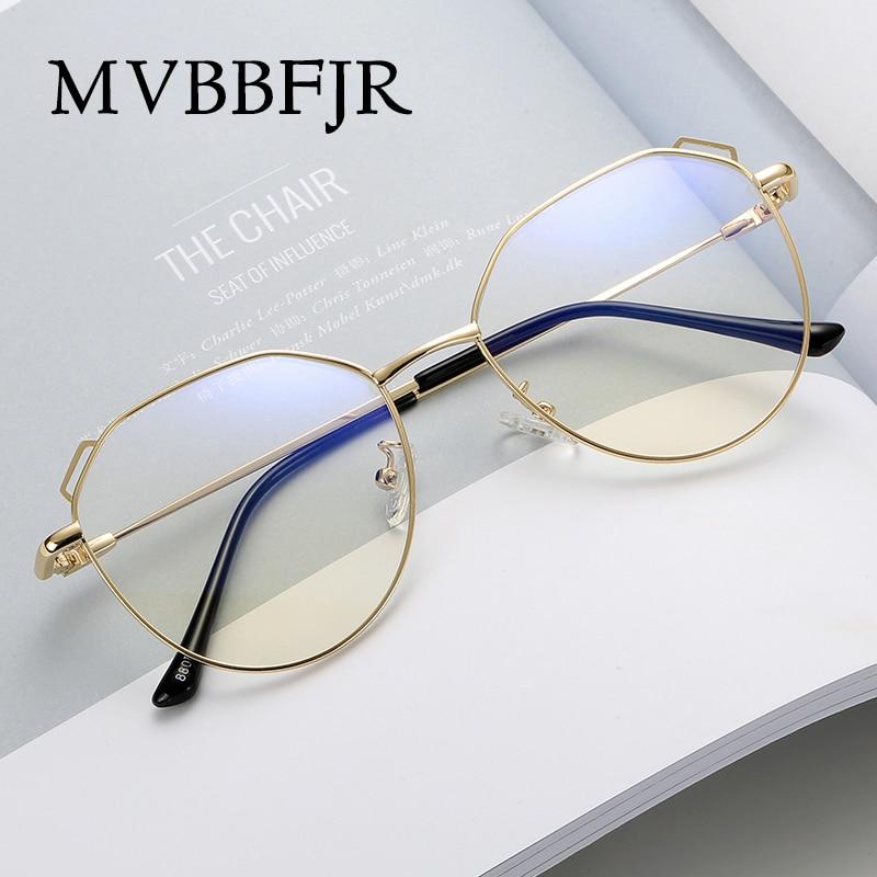 MVBBFJR Fashion Men Women Metal Eyewear Frame Goggle Vintage Retro Optical Glasses For Myopia Prescription Brand Design Cat Eye