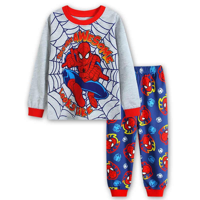 Осенняя детская одежда для мальчиков и девочек детская пижама с длинным рукавом, комплект детской одежды для сна с рисунком «летательный аппарат», «дракон», «Человек-паук»