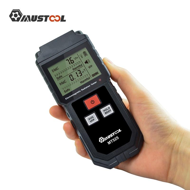Testador de Radiação Mustool Eletromagnética Campo Elétrico Medidor Emf Handheld Contador Digital Detector Lcd Mt525