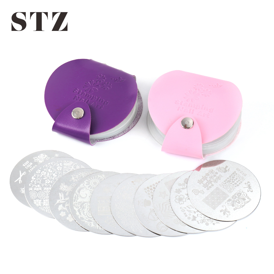 24 Slots Mini Nail Art Stamping Plate Holder Pink Purple Leather Storage Bag Cases Stamp Organizer Manicure Nail Art Tool  #1588