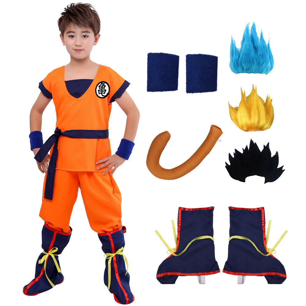 Halloween Dragon Ball Z Suit Clothes Son Goku Cosplay Costumes Top/Pant/Belt/Tail/wrister/Wig For Adult Kids New Year Gift