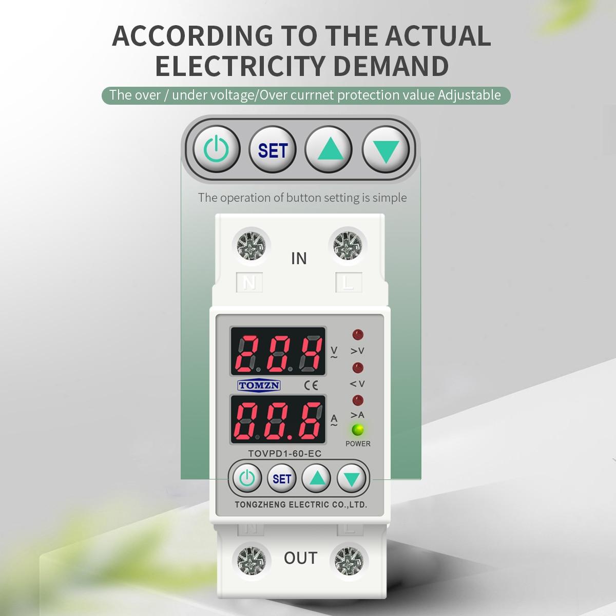 Details about  /Din Rail Dual Display Adjustable Over Voltage Current and Under Voltage