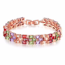 bracelet Womens Gem amber Armband Beaded love Rose gold zircon colorful crystal Retro BR0154