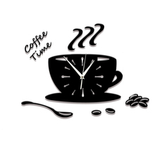 Coffee Cup Shaped Wall Decal Clock Home DIY Limited Time-Limited 3D Clocks Acrylic Decoration Living Room