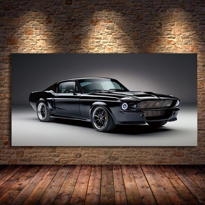 1967, Классический тканевый постер с принтом мышечной зарядки машин Mustang, вид спереди, гостиная, домашняя настенная декоративная холщовая Худ...