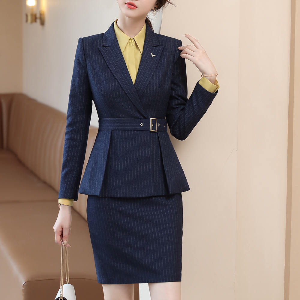 Business Interview Striped Suit For Women's Suit Office Clothes Elegant Ruffle Jacket Skirt 2 Piece Set Work Uniform 80976