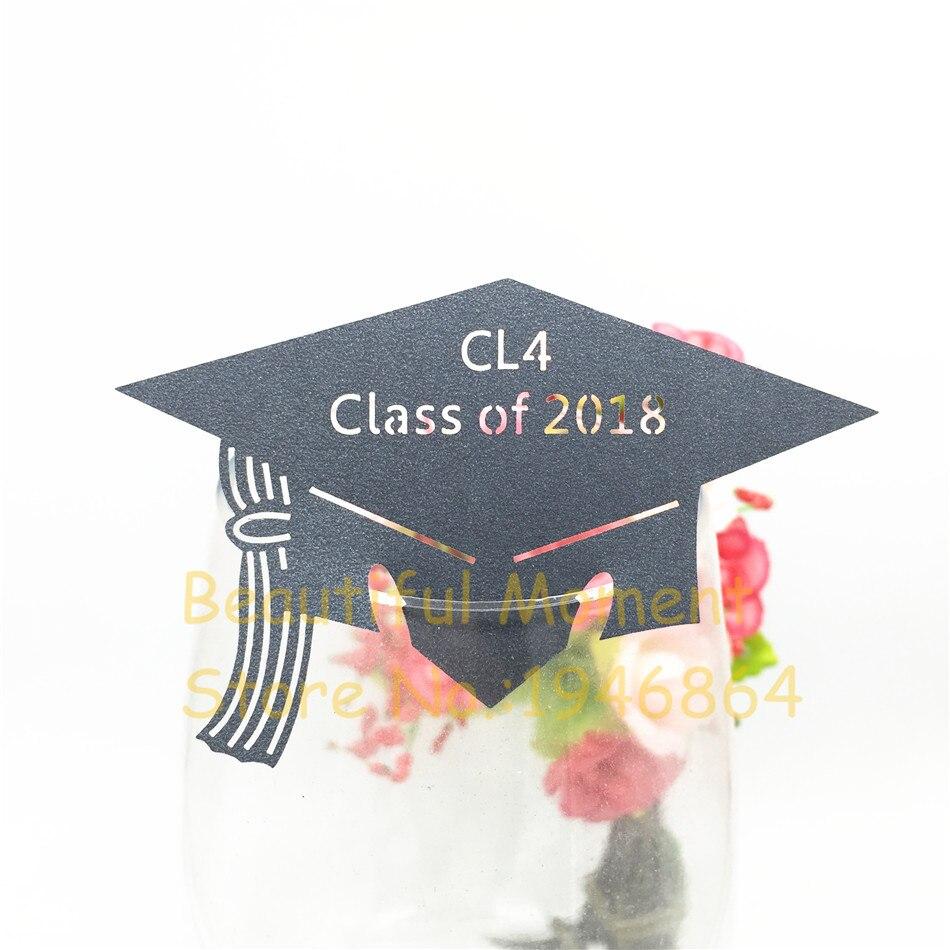 50pcs Graduation Party Cap Wine Glass Name Place Cards Cup Topper Black