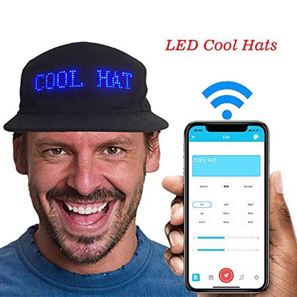 Головной убор светящийся светодиодный дисплей Многоязычная Беспроводная Bluetooth вечерние бейсболки мужская шляпа от солнца|Мужские бейсболки|   | АлиЭкспресс