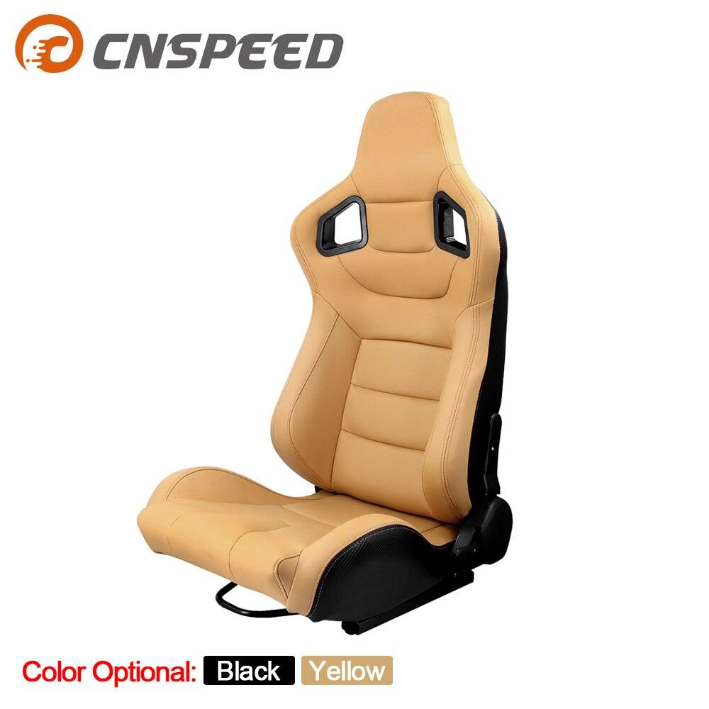 1pcs Tan Black  Racing Seats Sport Brown Pair Leather Car Reclinable Seats W/ 2 Slides
