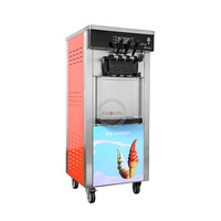 Commercial 3 favour vertical 6L*2 soft serve ice cream machine for sale