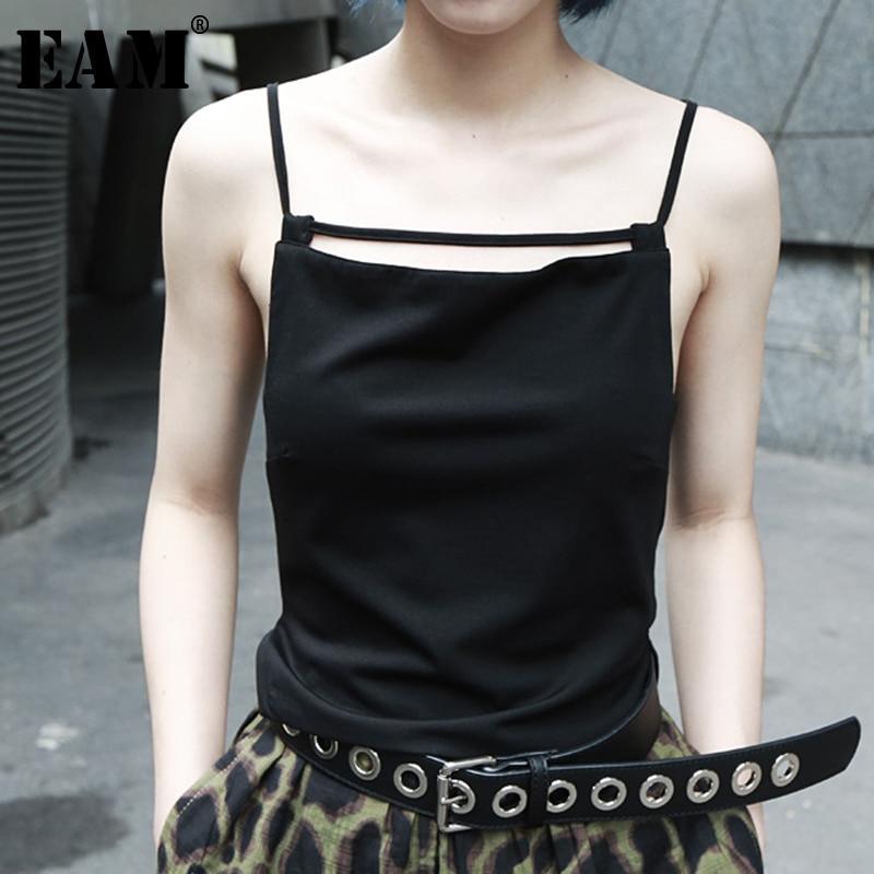 [EAM] femmes évider casual Simple réservoir hauts nouveau coup sans manches personnalité mode marée all-match printemps automne 2019 JZ468
