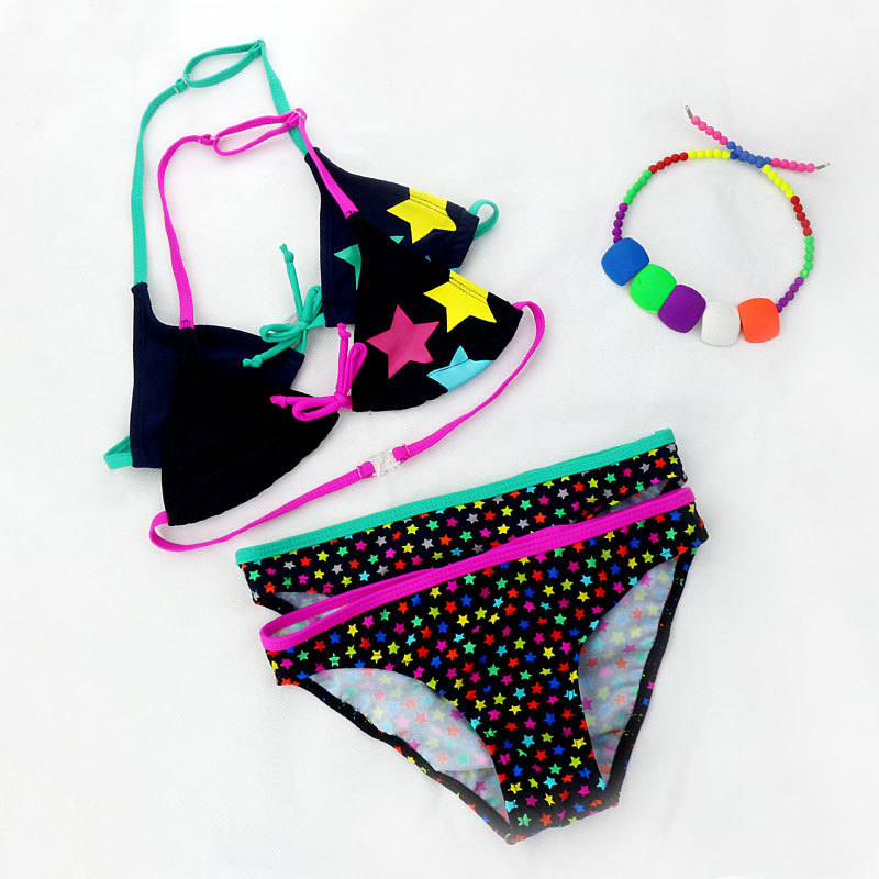 New Style Children Cute Star Pattern Split Type CHILDREN'S Bikini Swimwear GIRL'S Swimsuit Wholesale Foreign Trade
