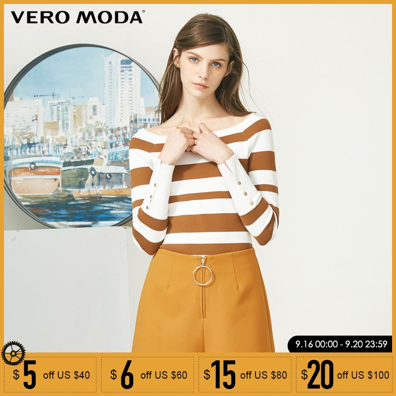 Vero Moda simple wide striped boat collar slim sweater 318124503 in Pullovers from Women 39 s Clothing
