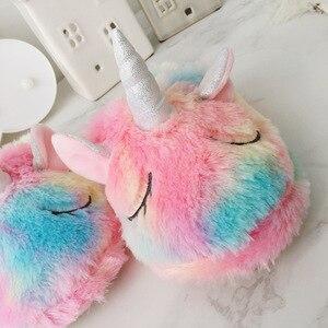 Image 3 - חורף Unicorn ביתי אנטי החלקה מקורה בית כפכפים פעוט תינוק בנות בני פעוטות ילדים teen נעלי בית נעלי ליל כל הקדושים