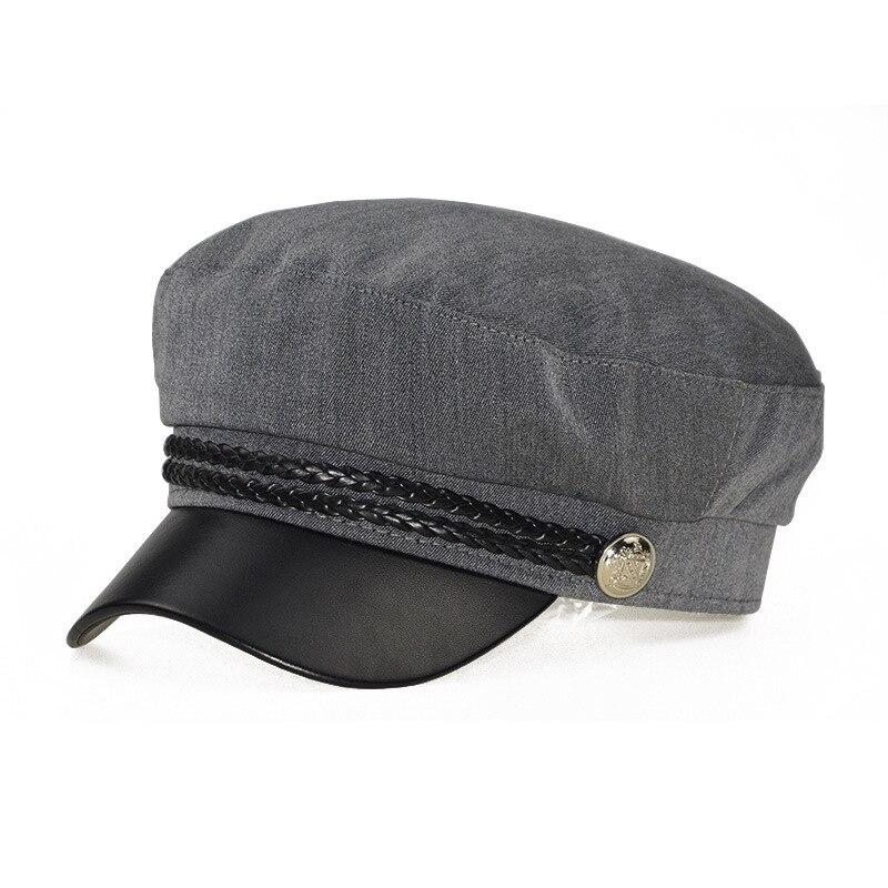 Зимняя женская Повседневная Военная шляпа винтажная мягкая хлопковая шерстяная плоский берет восьмиугольная кепка Модная элегантная женская шапка высокого качества - Цвет: grey