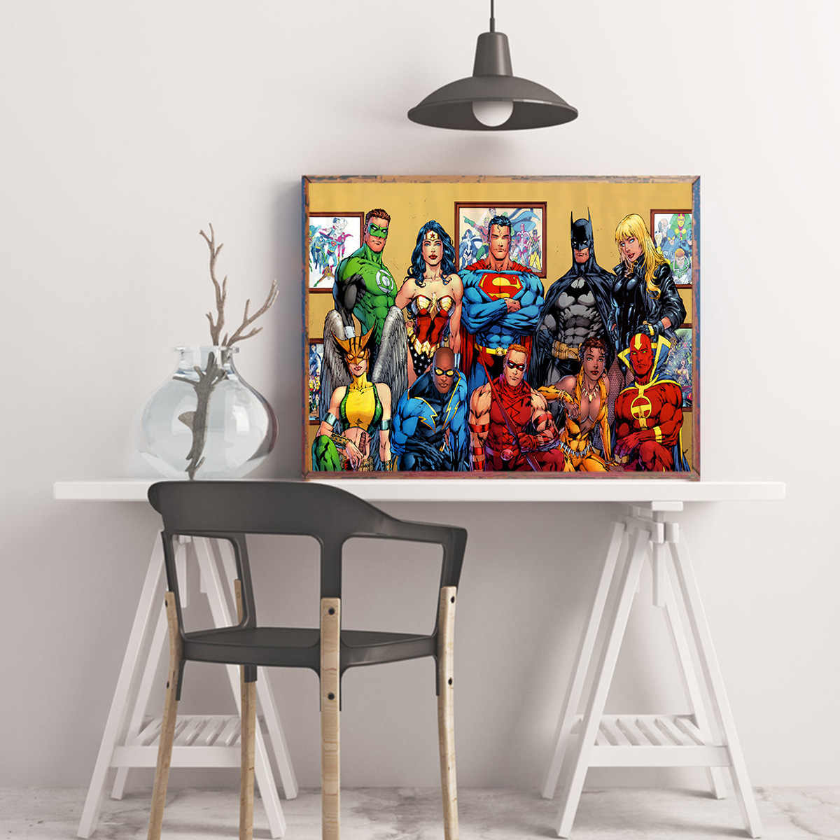 Marvel Wall Art Batman Superman Wonder Woman komiks bohater dekoracja wnętrz Cuadros Decoracion Salon plakaty i druki malarstwo