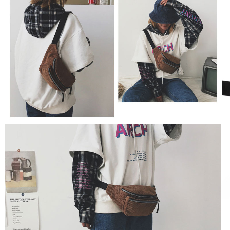 Ladies Designer Canvas Fanny Pack Fashion Street Money Banana Phone Chest Bag Bum Belt BagsWomen Men Corduroy Waist Bag 500