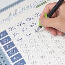 2 uds. De libros de ejercicios en inglés, 1pen Practice Circular Font pluma rígida, caligrafía en inglés, pegatinas de palabras, reutilización de palabras