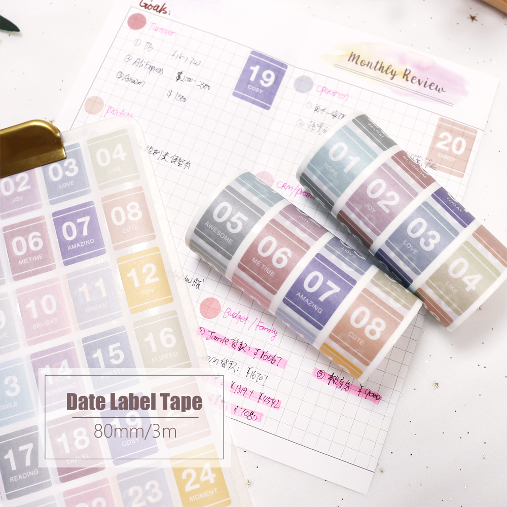 MyPretties 80mmx3m Date Label Number Stickers Planner Stickers Weekly Daily Schedule Mark Decorative Masking Tape