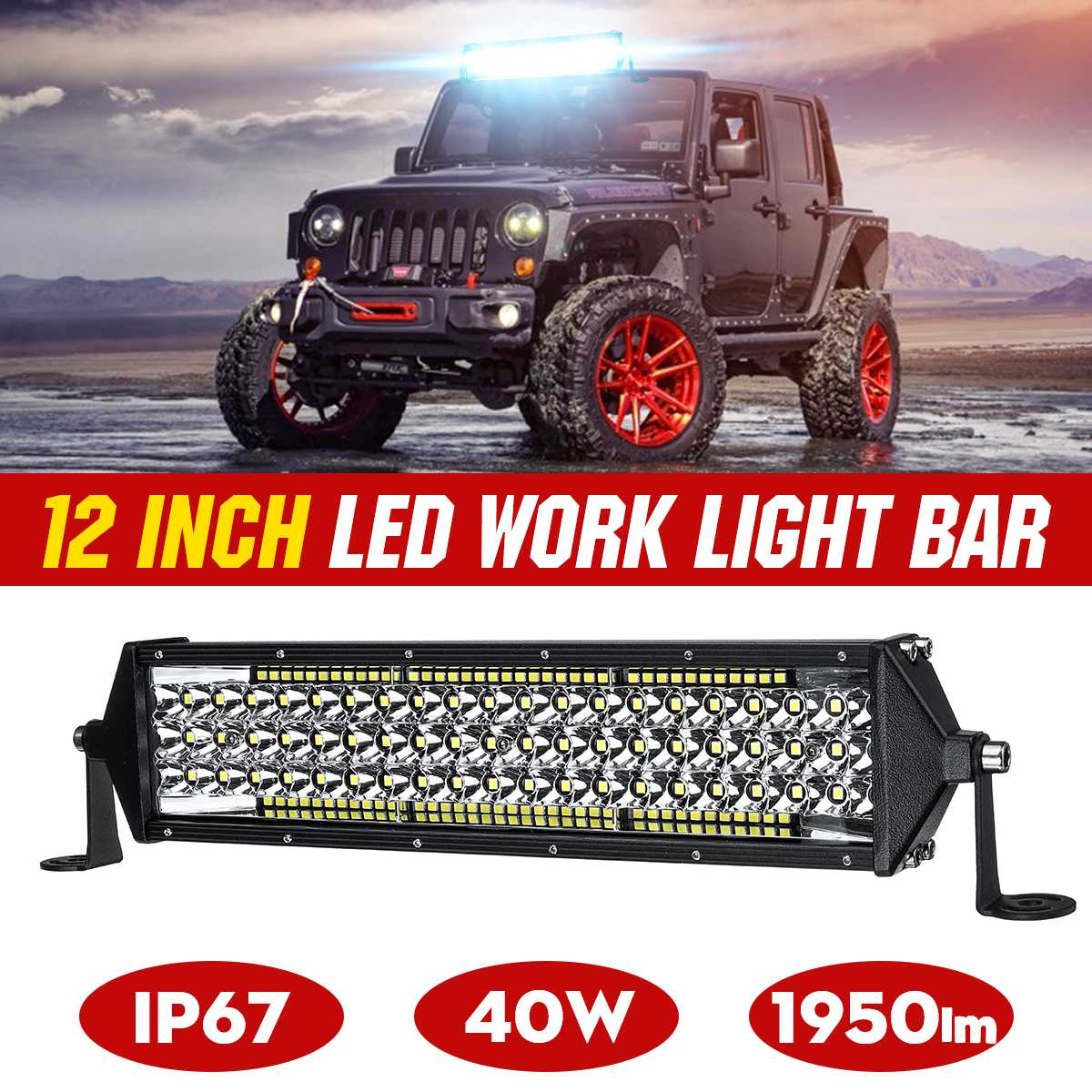 """11"""" 12"""" 22"""" Car LED Bar Work Light Bar White IP67 for Jeep Pickup Tractor Boat OffRoad Off Road 4WD 4x4 Truck SUV ATV Driving"""